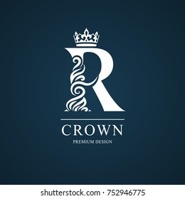 Elegant letter R. Graceful royal style. Calligraphic beautiful logo. Vintage drawn emblem for book design, brand name, business card, Restaurant, Boutique, Hotel. Vector illustration