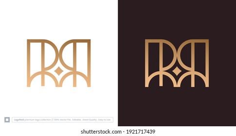 Elegant letter RR logo with star element, luxury RR initial monogram, logo vector template