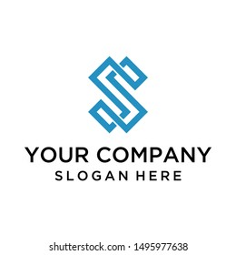 Elegant letter S logo design vector with line art style for business company