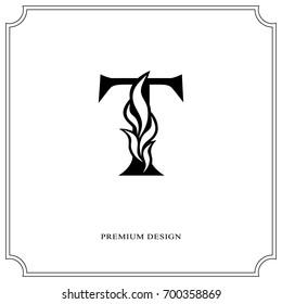 Elegant letter T. Graceful royal style. Calligraphic beautiful logo. Vintage drawn emblem for book design, brand name, business card, Restaurant, Boutique, Hotel. Vector illustration