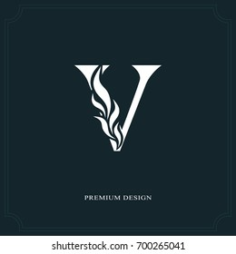Elegant letter V. Graceful royal style. Calligraphic beautiful logo. Vintage drawn emblem for book design, brand name, business card, Restaurant, Boutique, Hotel. Vector illustration
