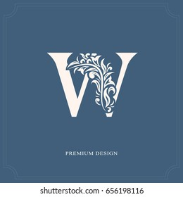Elegant letter W. Graceful royal style. Calligraphic beautiful logo. Vintage drawn emblem for book design, brand name, business card, Restaurant, Boutique, Hotel. Vector illustration