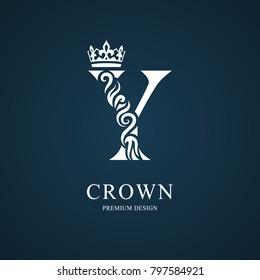 Elegant letter Y with crown. Graceful royal style. Calligraphic beautiful logo. Vintage drawn emblem for book design, brand name, business card, Restaurant, Boutique, Hotel. Vector illustration