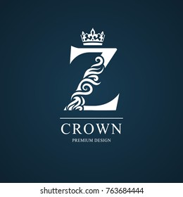 Elegant letter Z. Graceful royal style. Calligraphic beautiful logo. Vintage drawn emblem for book design, brand name, business card, Restaurant, Boutique, Hotel. Vector illustration