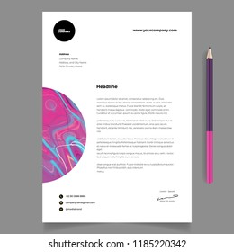Elegant letterhead template design in minimalist style with pencil mock up and abstract element vector eps 10