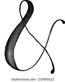 Elegant light black or grey watercolor hand drawn ampersand in vector