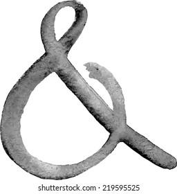 Elegant light black or grey watercolor hand drawn ampersand in vector