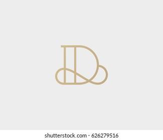 Elegant line curve vector logotype. Premium letter D logo design. Luxury linear creative monogram.