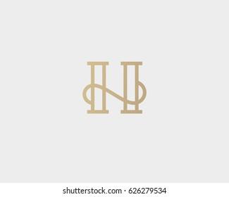 Elegant line curve vector logotype. Premium letter H logo design. Luxury linear creative monogram.