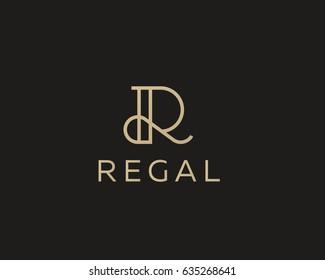 Elegant line curve vector logotype. Premium letter R logo design. Luxury linear creative monogram.