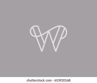 Elegant line curve vector logotype. Premium letter W logo design. Luxury linear creative monogram.