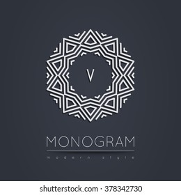 Elegant linear abstract monogram, logo design template. Vector illustration.