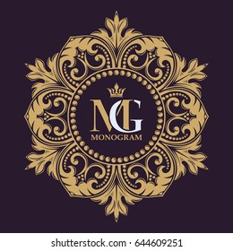 Elegant lines of calligraphic ornament. Golden decorative frame. Heraldic symbols. The original monogram. Vector business sign, identity for hotel, restaurant, heraldic, boutique, jewelry.