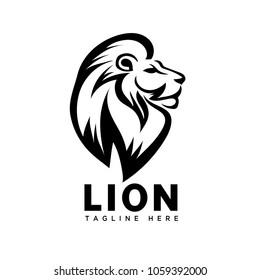 elegant lion head art logo