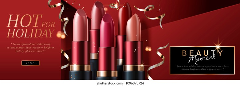 Elegant lipsticks holiday sale with glossy streamers on red background in 3d illustration