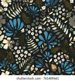 Elegant little flowers and funny bugs on a dark background, vector texture, illustration