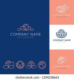 Elegant logo for blue and pink flower business