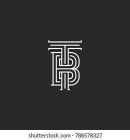 Elegant logo TB letters initials monogram, combination overlapping two letters T and B marks, black and white calligraphic linear BT emblem mockup