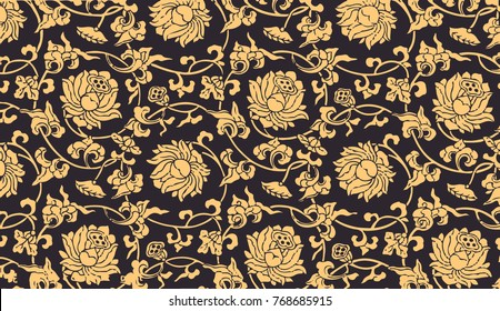 Elegant and luxurious gold pattern of lotus flowers on a black background