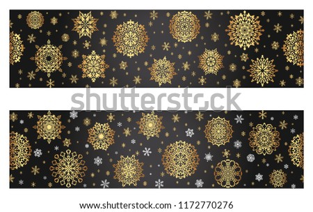 elegant luxurious greeting border for christmas and new year card golden snowflakes on a black