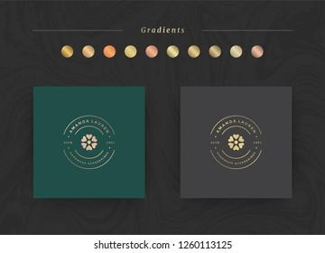 Elegant luxury brand logo design template. Modern minimalism style with golden gradients. Vector illustration.