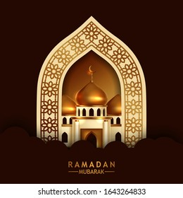 elegant luxury golden ornament door gate with view of golden dome mosque building. Islamic event holy fasting month ramadan kareem. poster banner template