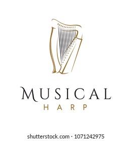 Elegant and Luxury Harp instrument Logo design inspiration
