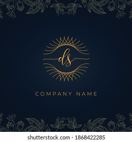Elegant luxury letter DS logo. This icon incorporate with abstract rounded thin geometric shape in floral background.It will be suitable for which company or brand name start those initial.