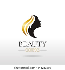 Elegant luxury logo with beautiful face of young adult woman with long golden hair. Sexy symbol silhouette of head and text lettering Beauty cosmetics on white background for hair dress, SPA salon