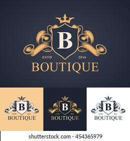 elegant luxury monogram logo or badge template in different color versions
