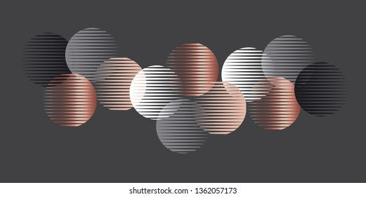 Elegant luxury round geometry shapes pattern. Dynamic vintage vibes repeatable motif for web and print design. 1970s style laconic geometric composition. Vector illustration card, header, poster.