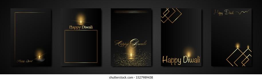 Elegant luxury set Happy Diwali Indian lights festival greeting black cards template. Hindu Diwali Golden ornament and candle light flame, burning oil lamps night effect, gold black background