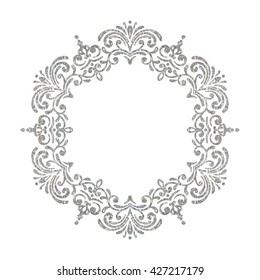 Elegant luxury vintage circle silver floral frame on white background. Refined hand drawn border template for greeting card, postcard, invitation, banner, flyer, poster. Vector illustration.