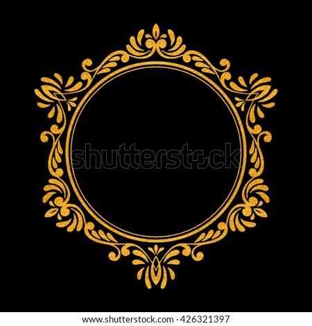 Elegant luxury vintage hexagon gold floral frame on black background. Refined  hand drawn border template 83f92906bf