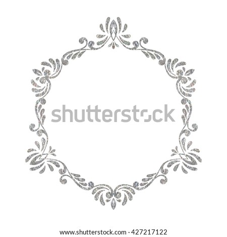Elegant luxury vintage hexagon silver floral frame on white background. Refined  hand drawn border template a023eac274