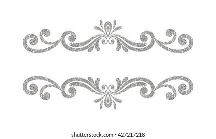 Elegant luxury vintage silver floral hand drawn decorative border or frame on white background. Refined vignette element for banner, invitation, menu, postcard, greeting card. Vector illustration.