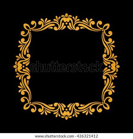 Elegant luxury vintage square gold floral frame on black background. Refined  hand drawn border template 292ff4cdd0