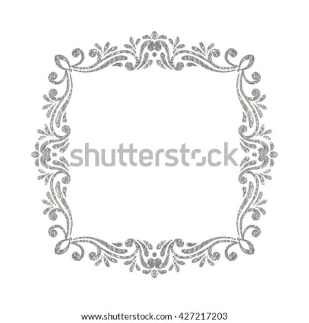Elegant luxury vintage square silver floral frame on white background. Refined  hand drawn border template 15633423d4