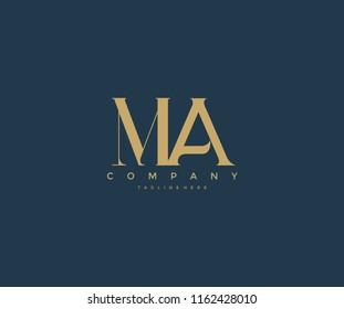 Elegant MA Letter Linked Monogram Logo Design