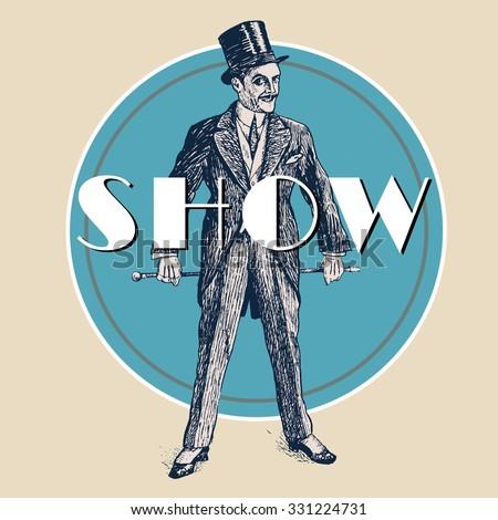 Elegant Man Retro Poster Template Gentleman Stock Vector Royalty