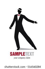 Elegant man silhouette dancing jazz or swing