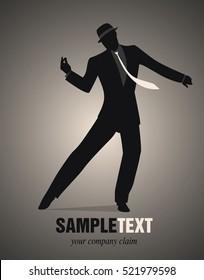 Elegant man silhouette dancing retro style
