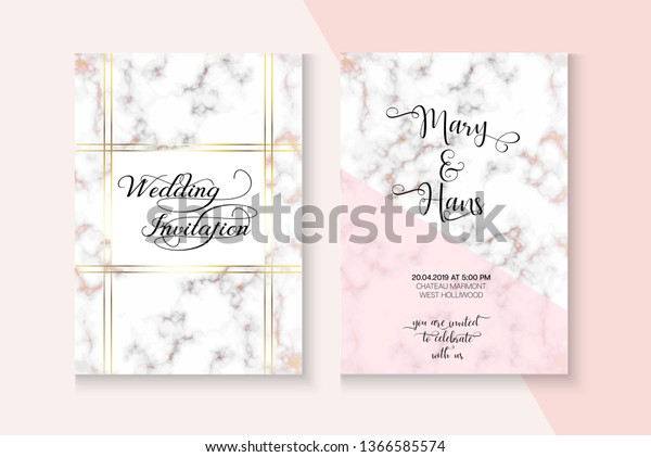 Elegant Marble Rose Gold Wedding Invitation Stock Vector Royalty Free 1366585574