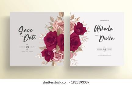 Elegant maroon rose flower wedding card