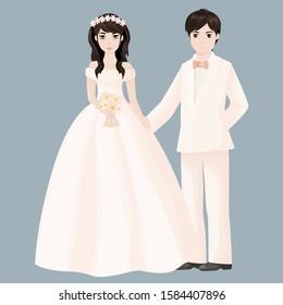 Elegant married couple. Vector illustration