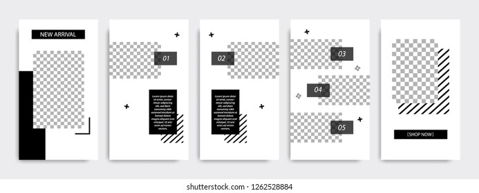 Elegant and masculine Memphis pattern style in black color. template set for  social media stories, story, business banner, flyer, brochure.