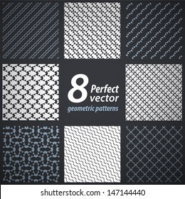 Elegant masculine seamless patterns. Vector background.