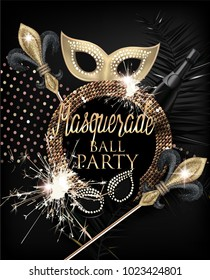 Elegant masquerade party invitation card with masquerade deco objects and sparklers. Gold and Black. Vector illustration