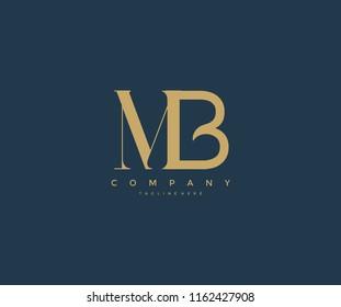 Elegant MB Letter Linked Monogram Logo Design