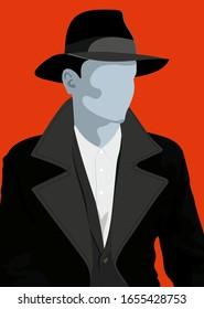 Elegant men wearing hat. Hat, man in hat, man, style, classic, Illustration, retro, silhouette, form, jacket black tie